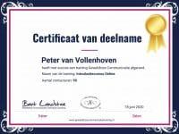 Certificaat van deelname aan Geweldloze Communicatie Training